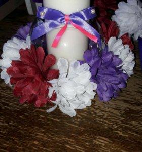 Украшение банкета, подсвечники, цветы