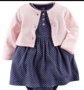 Комплект ( платье+ковточка) на девочку р-р64-68