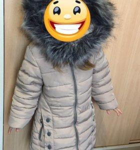 Зимнее пальто на девочку 2-4 года