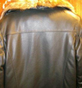 Кожаная зимняя куртка на подстежке из меха