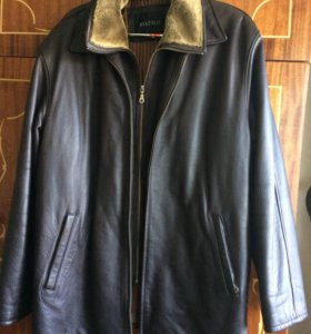 кожаннаямужская куртка демисезон с мутон-жилет