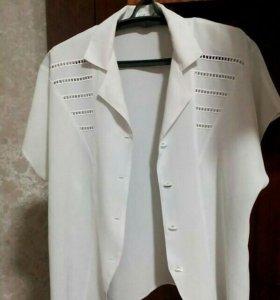 Белая блузка р.54