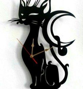 Часы котята из дерева