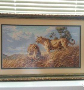"""Вышивка крестом, картина """"Африканские львы"""""""