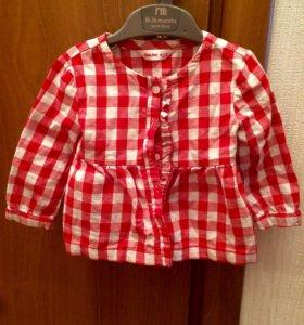 Рубашка в клетку для девочки рост 80 см