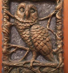 Рельеф совы(гипсовая, полиэфирная)