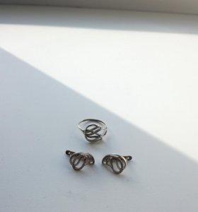 кольцо с сережками серебро