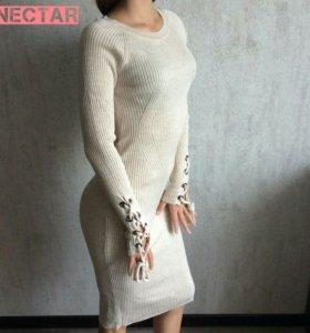 Платье- лапша теплая