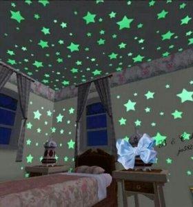 Неоновые звезды фигуры светятся в темноте 100 шт