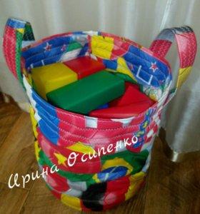 Мягкая корзина для игрушек высота 40см