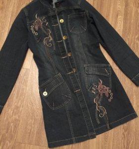 Пиджак джинсовый длинный