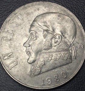 Крупная монета Мексики, 1 песо 1980
