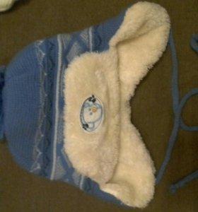 Зимняя шапочка от рождения до 3-4 месяцев