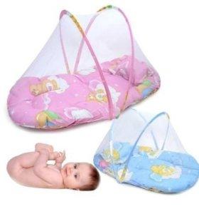 Детский матрасик с подушкой и москитной сеткой