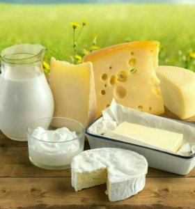 Молоко коровье, сметана, творог, сливки, масло.