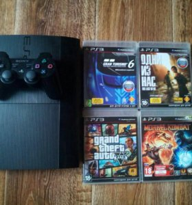PS3 Super Slim 320 gb + 4 игры