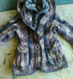 Пальто для девочки, на флисе. Рост 116