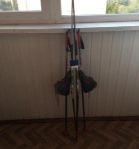Детские беговые лыжи с ботинками и палками