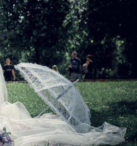 Зонтик кружевной ( на свадьбе для фотосессии )