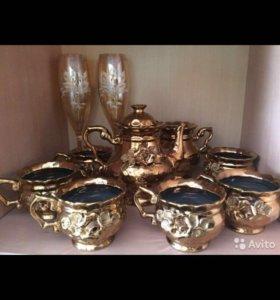 Чайный сервис (6 персон);свадебные бокалы