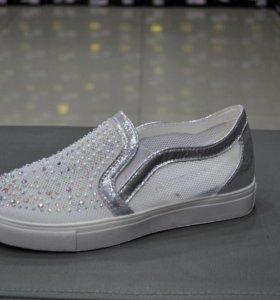Модные серебристые женские кеды арт 367