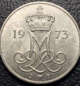 """Монета Дании, 10 эре 1973 """"Вензель Маргрете"""""""