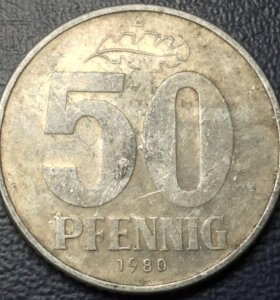 Монета Германии, 50 пфеннингов 1980 A