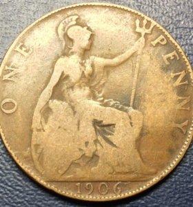 """Монета Великобритании, 1 пенни 1906 """"Эдуард VII"""""""