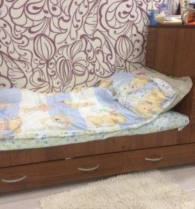 Детская кровать трансформер с люлькой