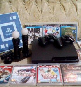 PS3 500gb, 2 дуалшока , 2 move контролёра..