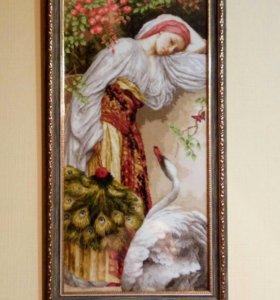 """Картина вышитая крестиком"""" Девушка с лебедем"""""""