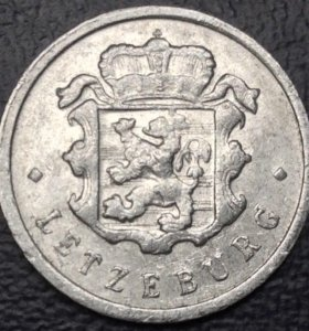 "Монета Люксембурга, 25 сантимов 1954 ""лев"""