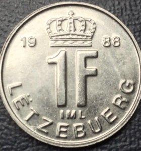 """Монета Люксембурга, 1 франк 1988 """"корона"""""""