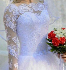 Свадебное платье 👰 + фата + сумочка + подарок 👑