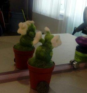 Кактус-сувенир из шерсти