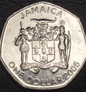 Монета Ямайки 1 доллар 2005