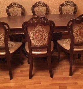 Стол&стулья 8шт
