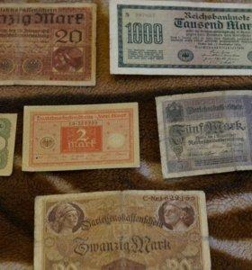11 старинных банкнот Германии без повторов