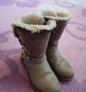 Зимние кожаные детские сапоги для девочки
