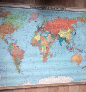 Продам политическую карту мира 80х годов