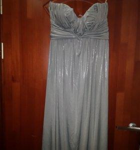 Новое серебрянной вечернее/свадебное платье в пол