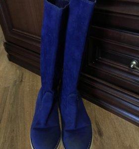 Сапоги синие замшевые 38 р-р
