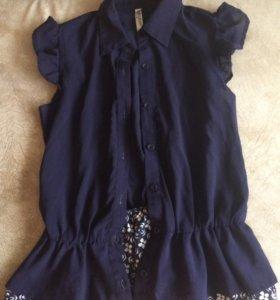 Блузка синяя на девочку
