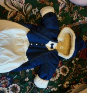 Детский зимний комбинезон мешок и шапочку зимнюю