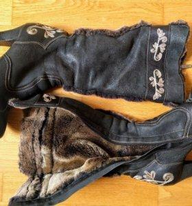 Сапоги зимние натуральная кожа и мех 38-39