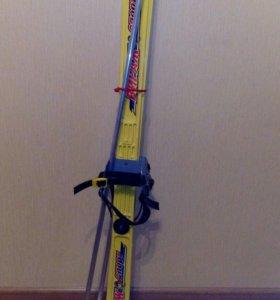 Лыжи и палки детские длина - 100 см