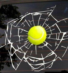 3D наклейки '' Треснутое стекло и мяч''