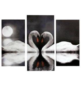 """Модульная картина """"Лебеди в ночи"""""""