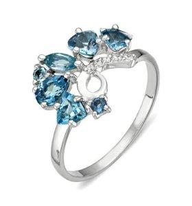 Кольцо серебряное с аметистами, новое, с этикеткой