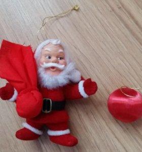 игрушка новогодняя на ёлку Санта Клаус и шарик
